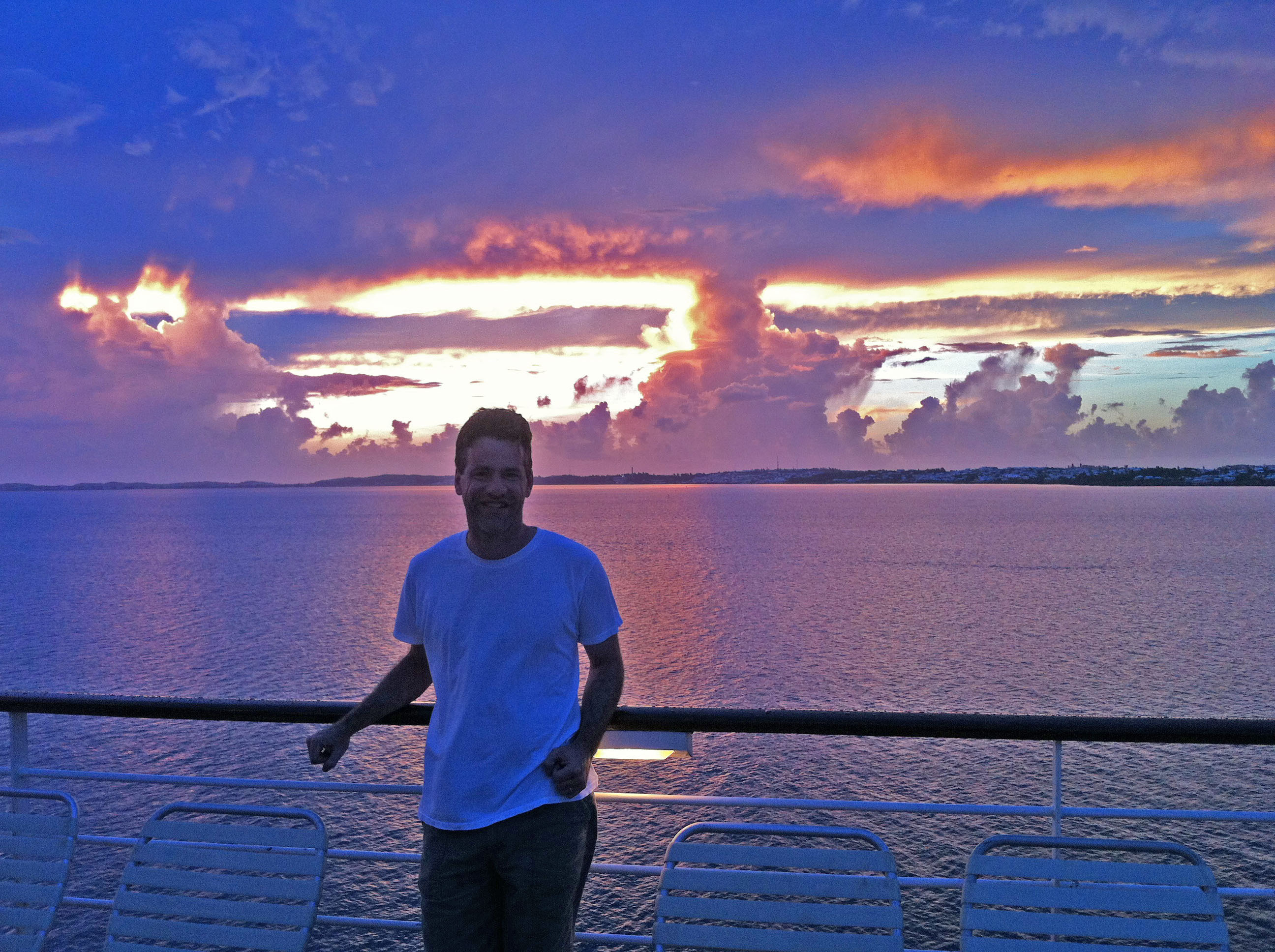 Dawn from the top deck of a cruise ship in the Atlantic.